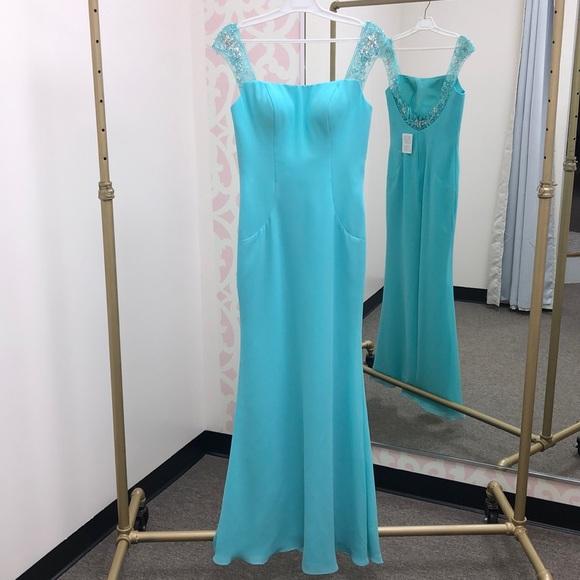Mary's Bridal Dresses & Skirts - Aqua Beaded Chiffon Gown. Mary's Bridal #FY8303